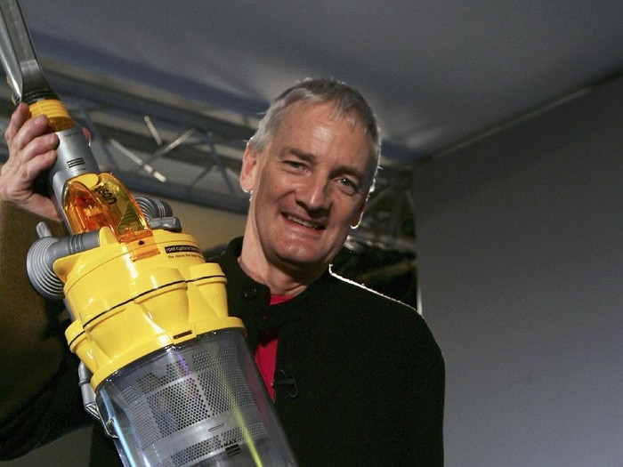 LONDON - MARCH 14:  Inventor James Dyson is seen at the launch of his latest hoovering invention on March 14, 2005 in London.  The vaccum cleaner replaces the traditional four wheels with one ball to guide it across the floor giving it increased maneouverability.  (Photo by Bruno Vincent/Getty Images)