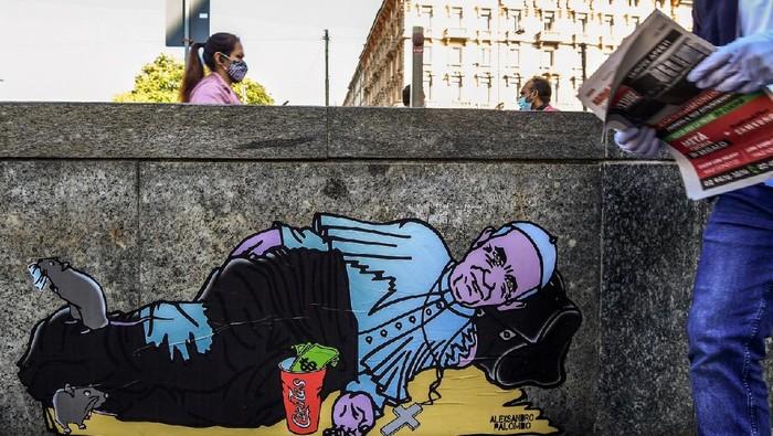 Mural Paus Francis di Milan, Italia