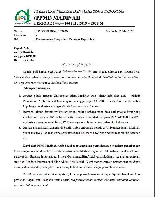 Surat mahasiswa RI di Madinah