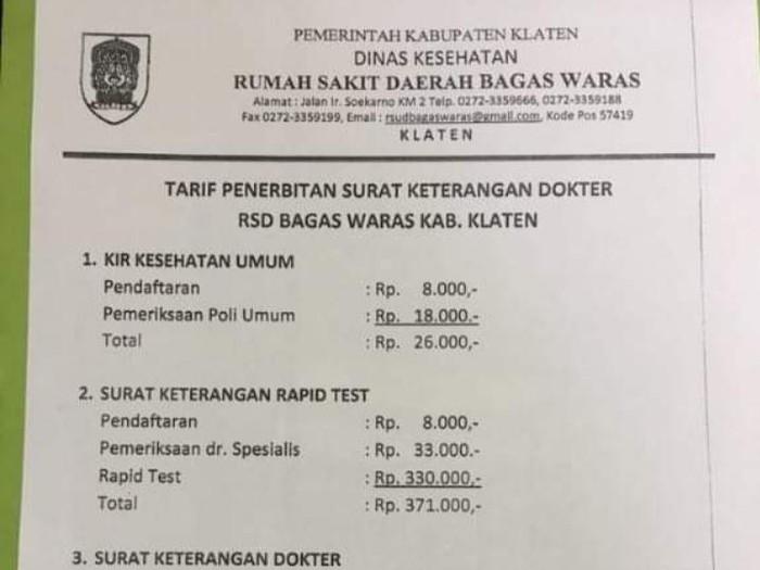 Beredar Tarif Penerbitan Surat Keterangan Dokter Di Klaten Ini Faktanya