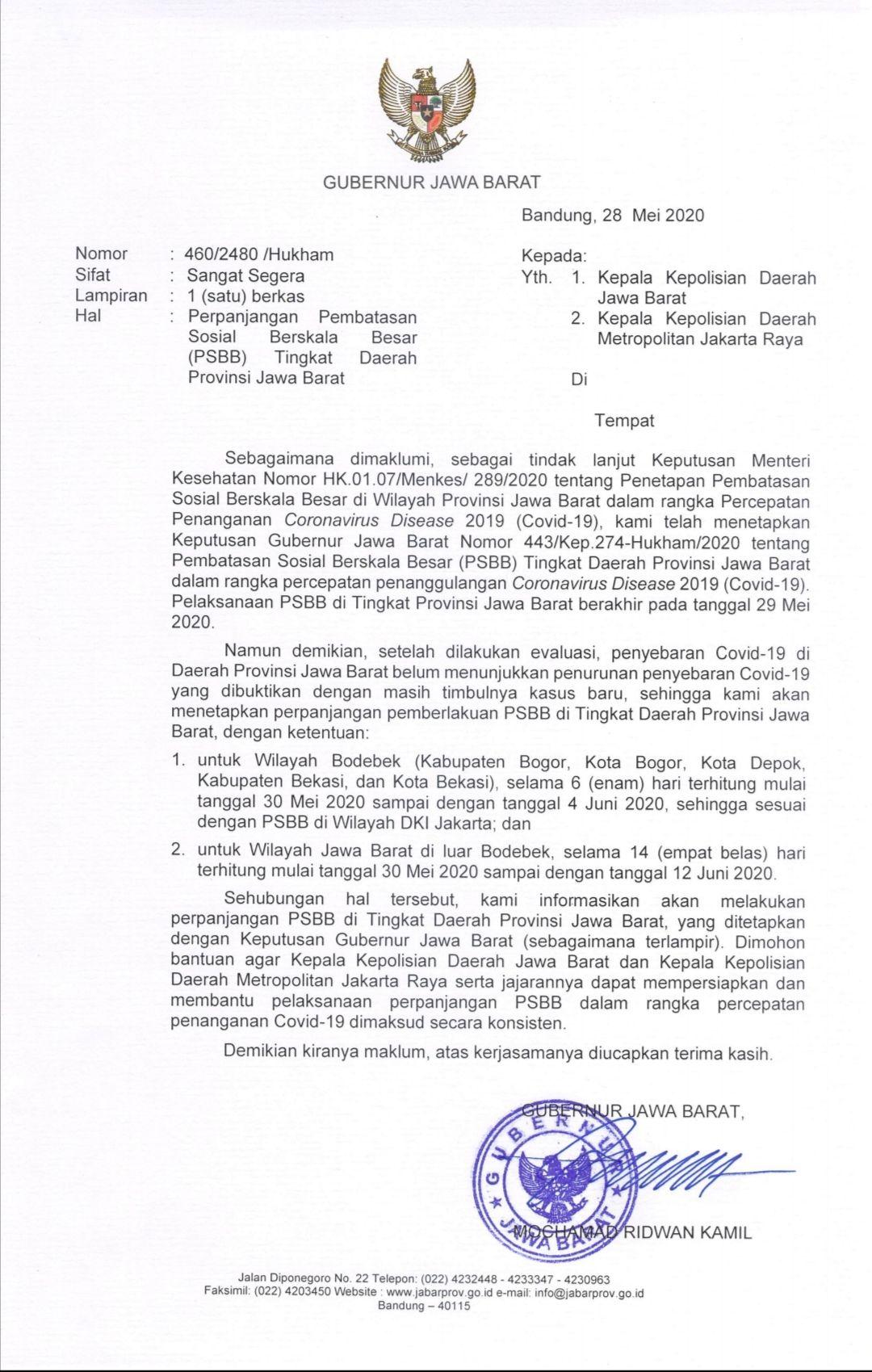Psbb Diperpanjang New Normal Di Jabar 1 Juni Batal