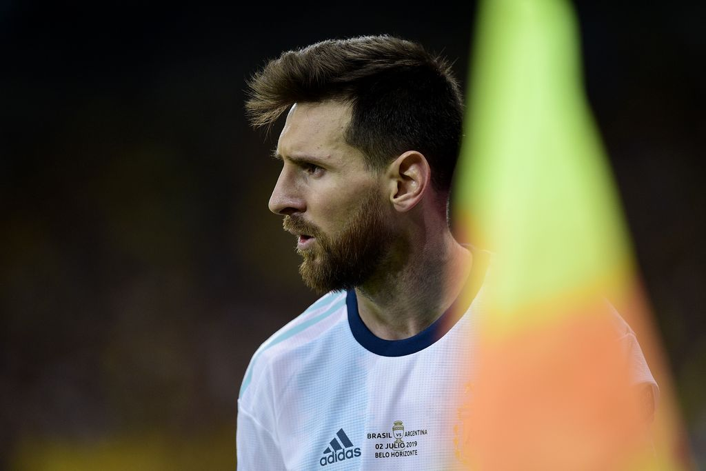 BELO HORIZONTE, BRAZIL - JULY 02: Lionel Messi of Argentina looks on during the Copa America Brazil 2019 Semi Final match between Brazil and Argentina at Mineirao Stadium on July 02, 2019 in Belo Horizonte, Brazil. (Photo by Juliana Flister/Getty Images)