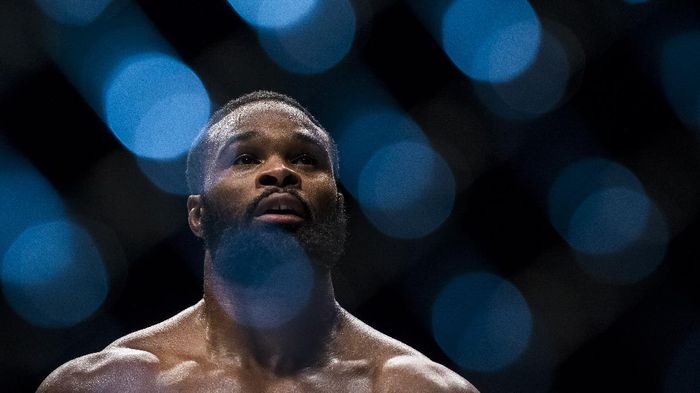 MACAU - AUGUST 23:  Tyron Woodley of USA looks up after winning his welterweight fight against Dong Hyun Kim of South Korea during the UFC Fight Night at The Venetian Macao Cotai Arena on August 23, 2014 in Macau, China.  (Photo by Victor Fraile/Getty Images)