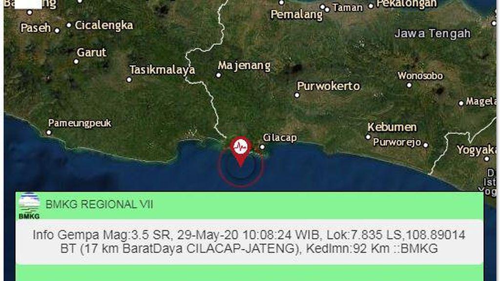 Gempa 3,5 SR Terjadi di Barat Daya Cilacap