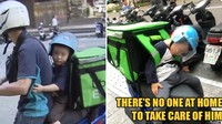Viral! Ayah Ajak Putranya Keliling Antar Pesanan Makanan Sampai Terkantuk-kantuk