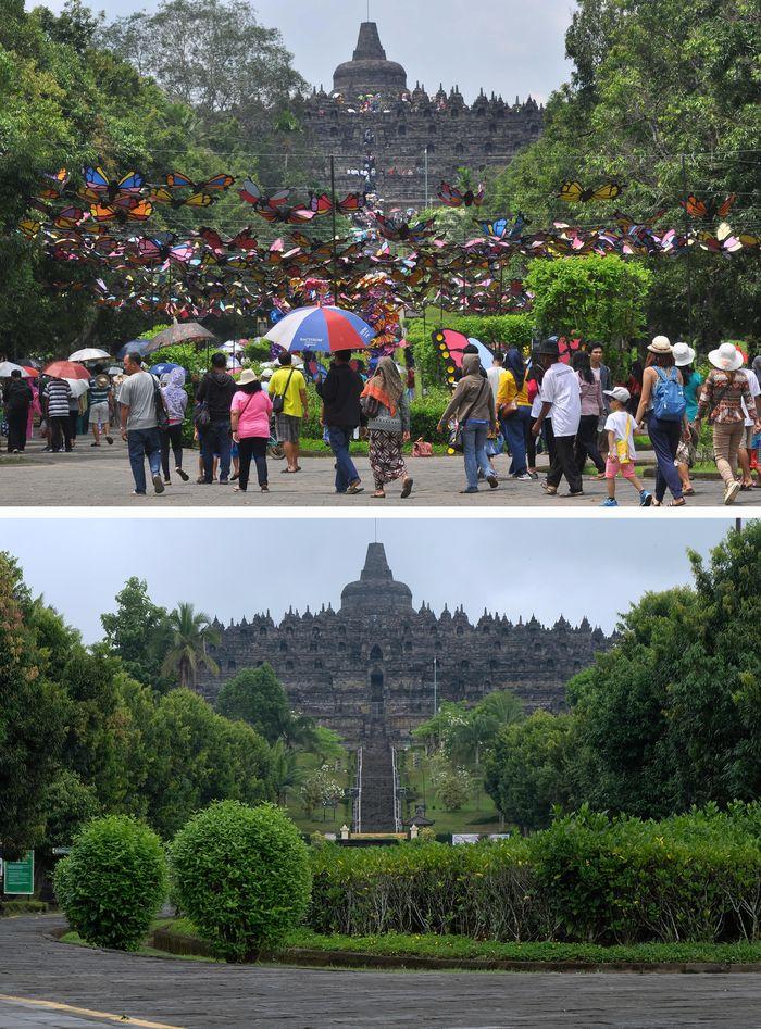 Foto kolase perbandingan suasana musim libur panjang sebelum adanya pandemi COVID-19 (atas) dan saat pandemi COVID-19 (bawah) di kawasan Borobudur, Magelang,  Jawa Tengah, Kamis (28/5/2020). Guna mencegah penyebaran pandemi COVID-19 pihak menejemen Taman Wisata Candi (TWC) Borobudur, Prambanan dan Ratu Boko masih menutup semua lokasi wisata untuk umum sampai waktu yang belum ditentukan. ANTARA FOTO/Anis Efizudin/aww.