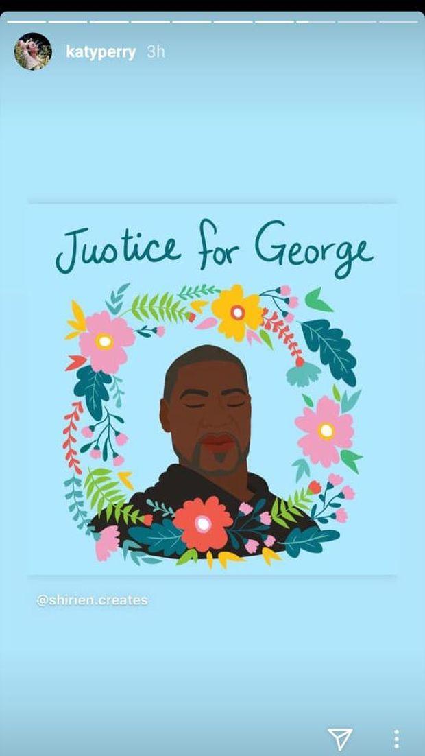 George Floyd tewas di tangan polisi kota Minneapolis, Amerika Serikat (AS). Tagar untuk membela pria kulit hitam itu pun mewarnai dunia maya. Katy Perry salah satu artis yang turut menyuarakan keadilan bagi Floyd.