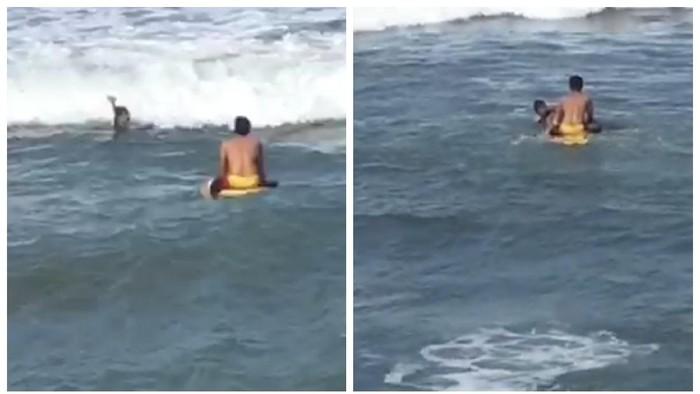 Penjaga pantai menyelamatkan seorang pria yang nyaris terseret ombak di Sukabumi.