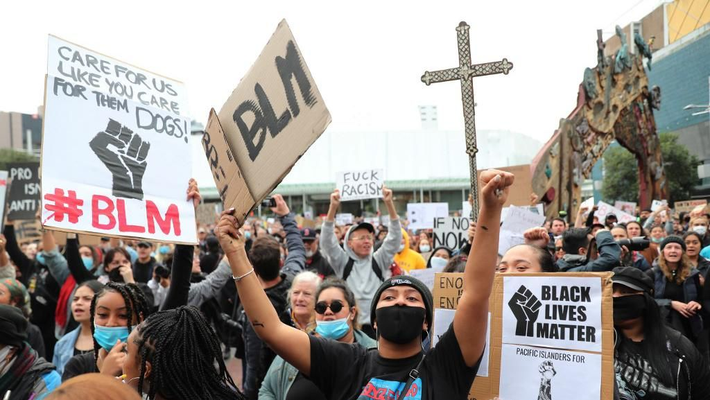 Aksi Memprotes Kematian George Floyd Juga Digelar di Selandia Baru