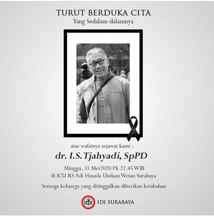 dr IS Tjahyadi SpPD meninggal