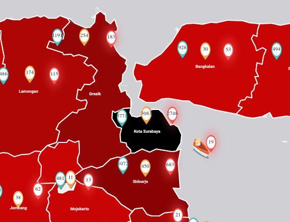 Peta Sebaran COVID-19 JATIM. Ist