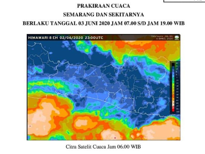 Tangkapan layar citra satelit cuaca di Jateng, Rabu (3/6/2020