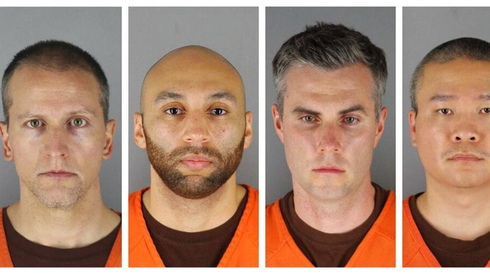 This combination of photos provided by the Hennepin County Sheriffs Office in Minnesota on Wednesday, June 3, 2020, shows Derek Chauvin, from left, J. Alexander Kueng, Thomas Lane and Tou Thao. Chauvin is charged with second-degree murder of George Floyd, a black man who died after being restrained by him and the other Minneapolis police officers on May 25. Kueng, Lane and Thao have been charged with aiding and abetting Chauvin. (Hennepin County Sheriffs Office via AP)