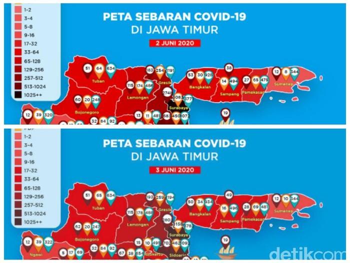Peta Penyebaran COVID-19 di Surabaya Tak Lagi Hitam, Kini Merah Pekat