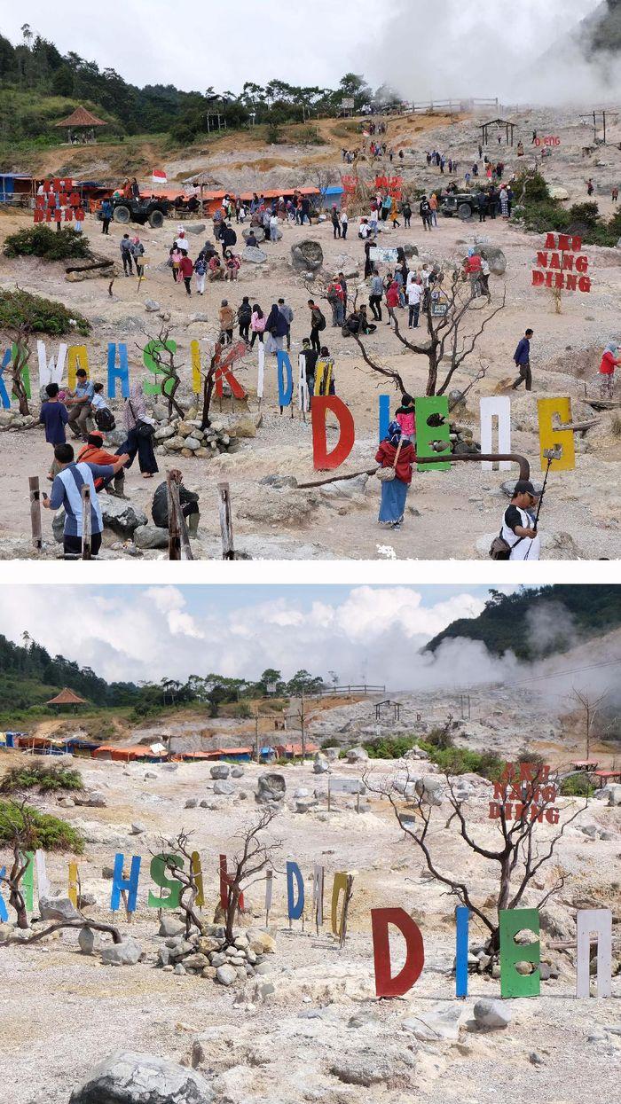 Kawasan dataran tinggi Dieng di Banjarnegara masih ditutup guna cegah penyebaran COVID-19. Penutupan objek wisata itu dilakukan sejak tanggal 17 Maret lalu.