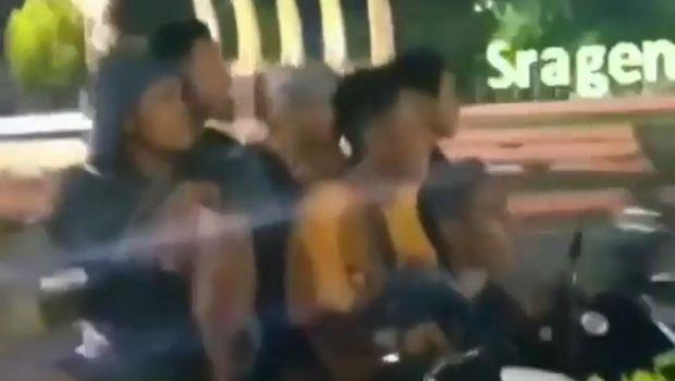 Viral enam remaja boncengan naik satu motor di Sragen.