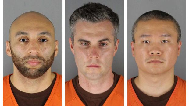 This combination of photos provided by the Hennepin County Sheriff's Office in Minnesota on Wednesday, June 3, 2020, shows J. Alexander Kueng, from left, Thomas Lane and Tou Thao. They have been charged with aiding and abetting Derek Chauvin, who is charged with second-degree murder of George Floyd, a black man who died after being restrained by the Minneapolis police officers on May 25. (Hennepin County Sheriff's Office via AP)