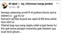 Polisi Dalami Kasus Akun FB Sebut COVID-19 Jadi Ajang Bisnis Dokter