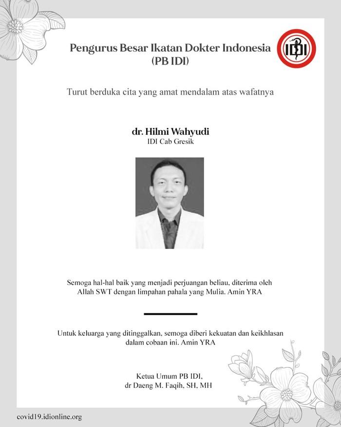 dr Hilmi Wahyudi meninggal dunia. (Dok IDI)