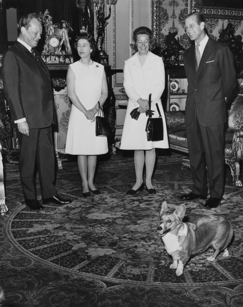 From left to right, West German Chancellor Willy Brandt (1913 - 1992), Queen Elizabeth II, Brandt's wife Rut, and the Duke of Edinburgh at Windsor Castle during the Brandts' visit to England, 20th April 1972. They are amused by the antics of one of the royal corgis.  (Photo by Douglas Miller/Keystone/Hulton Archive/Getty Images)