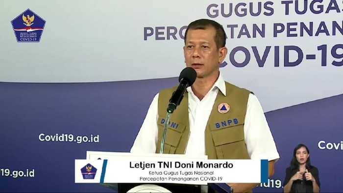 Ketua Gugus Tugas Percepatan Penanganan COVID-19, Letjen TNI Doni Monardo (YouTube BNPB)