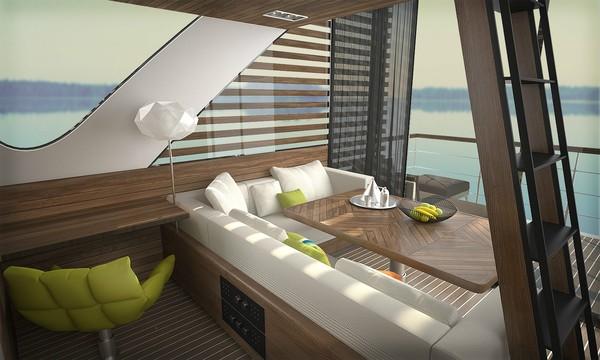 Karena alasan ini, Catamaran memiliki bentuk yang tidak biasa ini dengan jendela besar di bagian depan.