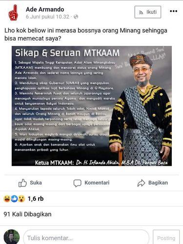 Ade Arnando terancam dikenai sanksi adat akibat komentarnya yang dianggap menyinggung masyarakat Minang. Namun dia justru mempertanyakan legitimasi pihak yang mengancamnya (Screenshot Facebook Ade Armando)