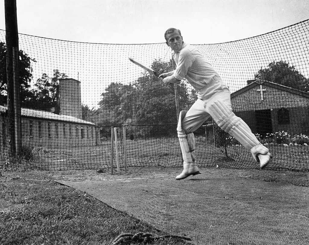 Philip Mountbatten, prior to his marriage to Princess Elizabeth, batting at the nets during cricket practice while in the Royal Navy, July 31st 1947. (Photo by Douglas Miller/Keystone/Getty Images)