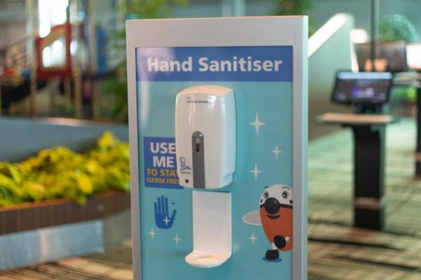 Bandara Changi juga memberikan sanitiser di tiap sudut THA (Changi Airport Group)