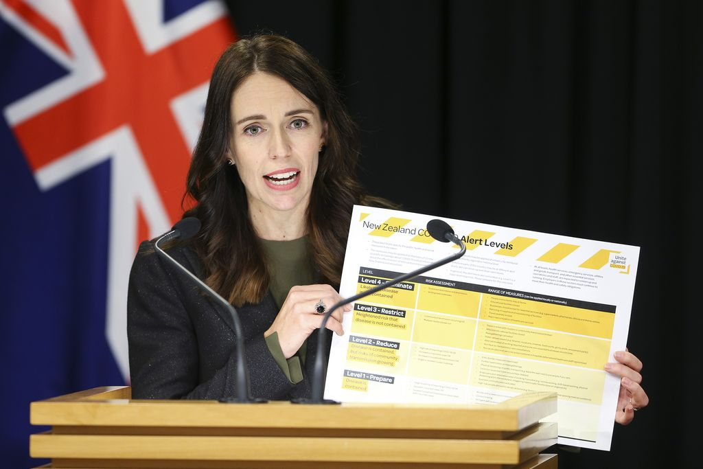 WHAKATANE, NEW ZEALAND - DECEMBER 10: New Zealand Prime Minister Jacinda Ardern meets with first responders at the Whakatane Fire Station on December 10, 2019 in Whakatane, New Zealand. Five people are confirmed dead and several people are missing following a volcanic eruption at White Island on Monday. (Photo by Dom Thomas/Radio NZ - Pool/Getty Images)