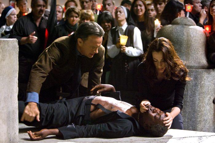 L-r, Tom Hanks, Ayelet Zurer, Thure Lindhart and Ewan McGregor in Columbia Pictures' suspense thriller