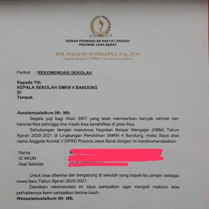 Surat rekomendasi DPRD Jabar