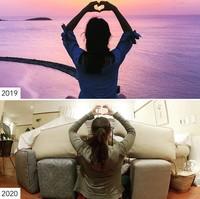 Tahun ini tidak bisa pose heart hands ke matahari. (Sharon Waugh/Instagram)