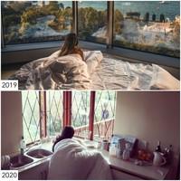 Bergaya seksi di hotel berganti dengan selimutan di dapur. (Sharon Waugh/Instagram)