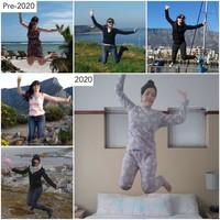 Sebelum tahun 2020, foto melompat begitu menyenangkan. Namun di tahun ini kita melompat di rumah saja. (Sharon Waugh/Instagram)