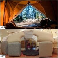 Tahun lalu kemping bisa di hutan, namun tahun ini d idalam rumah saja. (Sharon Waugh/Instagram)
