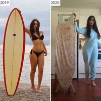 Foto surfing di pantai pun berganti dengan papan setrikan. (Sharon Waugh/Instagram)