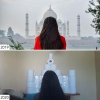 Tahun 2019 masih bisa foto-foto di Taj Mahal. Di tahun 2020, latarnya berganti tisu toilet. (Sharon Waugh/Instagram)