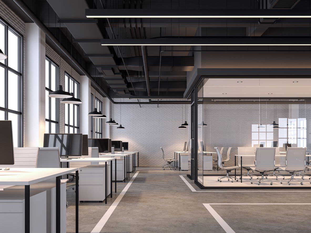 Large and modern office interiors. 3D rendering of fully furnished big office space.