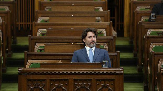 Perdana Menteri Kanada  Justin Trudeau menghadiri Komite Khusus membahas penanganan COVID-19 di House of Commons on Parliament Hill, Ottawa, Kanada.