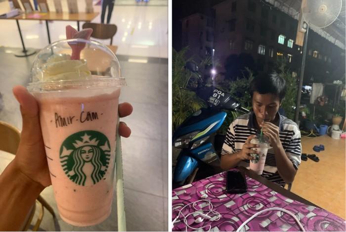 Pria traktir temannya yang belum pernah cicip Starbucks seumur hidup