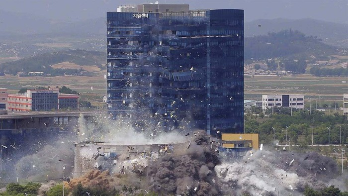 This combination of photos provided by the North Korean government shows the explosion of an inter-Korean liaison office building in Kaesong, North Korea, Tuesday, June 16, 2020. South Korea says that North Korea has exploded the inter-Korean liaison office building just north of the tense Korean border. Independent journalists were not given access to cover the event depicted in this image distributed by the North Korean government. The content of this image is as provided and cannot be independently verified. (Korean Central News Agency/Korea News Service via AP)
