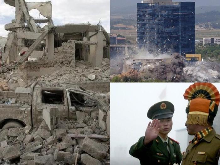 Kolase foto ilustrasi dan peristiwa konflik di Yaman, Korut-Korsel, India-China (dok BBC & AFP Photo)