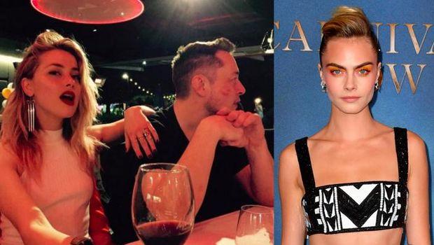 Amber Heard, Elon Musk dan Cara Delevingne