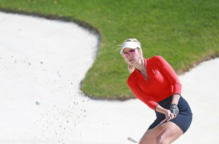 RIDGEDALE, MISSOURI - APRIL 27: Social media personality Paige Spiranac hits from the sand during the second round of the PGA TOUR Champions Bass Pro Shops Legends of Golf at Big Cedar Lodge on April 27, 2019 in Ridgedale, Missouri.   Matt Sullivan/Getty Images/AFP