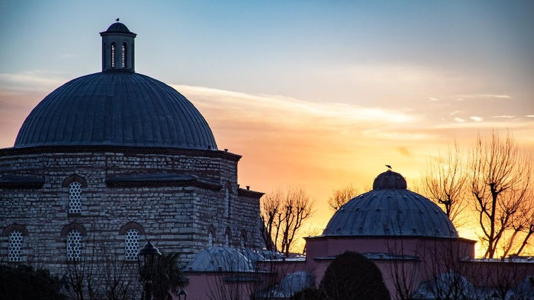 dome of the Turkish bath near sultanahmet square of Istanbul, Turkey in February