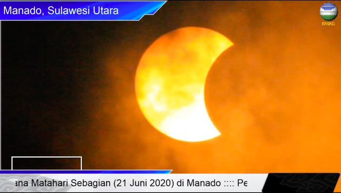 Gerhana matahari sebagian di Manado, Sulut. (Dok BMKG)