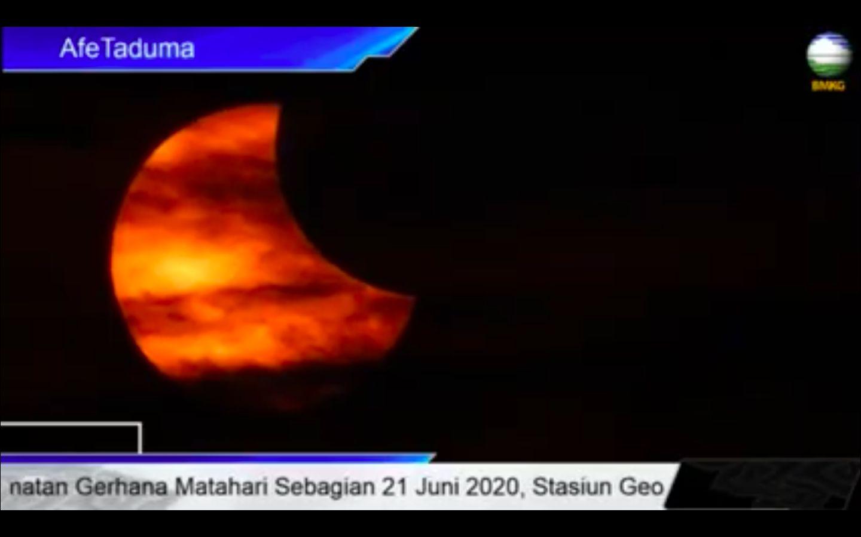 Gerhana matahari sebagian di Ternate. (Dok BMKG)