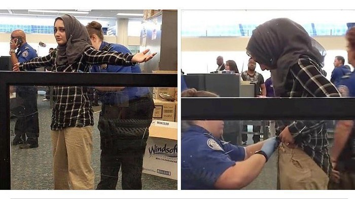 Wanita berhijab yang diperika petugas di Bandara Boston, AS.