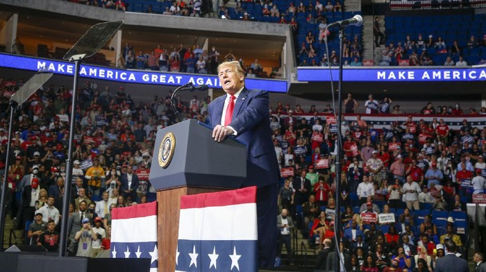 President Donald Trump speaks during his campaign rally at BOK Center in Tulsa, Okla., Saturday, June 20, 2020. (Ian Maule/Tulsa World via AP)